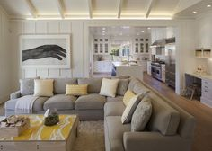 Modern Farmhouse: Family Room 2  Love this layout - some separation for the kitchen with a great banquette.