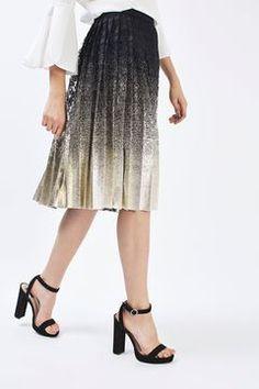 Top Shop Pleated Foil Lace Skirt
