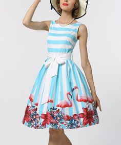 Sucrefas Blue Stripe Sleeveless Fit & Flare Dress | zulily