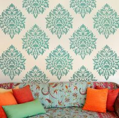 Try Damask stencils instead of pricey damask wallpaper! Our damask stencils are easy to use and very cost effective. Classic stencils, damask stencil patterns, wallpaper stencils for DIY decor. Damask Wall Stencils, Wallpaper Stencil, Stencil Patterns, Stencil Designs, Wall Stenciling, Damask Decor, Stencils For Walls, Bathroom Stencil, Paint Stencils