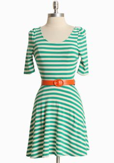 Love Has Come Along Striped Dress In Green 42.99 at shopruche.com. Charming and sweet, this green and ivory striped dress is crafted in a luxurious cotton blend with the perfect hint of stretch for a flattering silhouette. Finished with a demure low cut back, three-quarter length sleeves, and a removable orange leatherette belt. Wear with flats and your favorite accessories for effortless style....