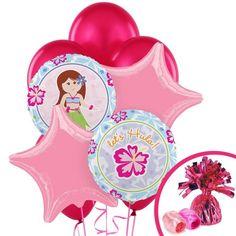 """Hawaiian Girl Balloon Bouquet  Hawaiian Girl Balloon Bouquet Includes (2) Hawaiian Girl Foil Balloons (2) Pink Star 19"""""""" Foil Balloons (6) Hot Pink Latex Balloons (1) Pink (Light Pink) Curling Ribbon (1) Hot Pink Curling Ribbon and (1) Cerise Balloon Weight. (Note: Balloon will ship flat.)  Now Only $11.99 pk"""