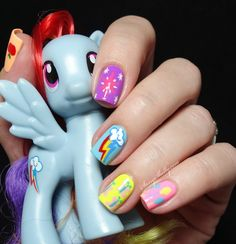 "From littles to big kids to adults, everybody loves My Little Pony. The MLP fandom is HUGE and it inspired today's ""Cutie Mark"" nail art design."