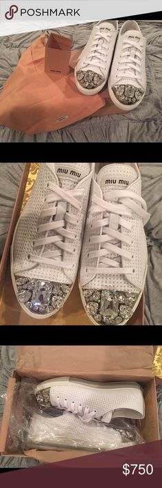 870ddc011506b Shop Women's Miu Miu White size Sneakers at a discounted price at Poshmark.  Completely New. Comes with shoe box & dust bag.