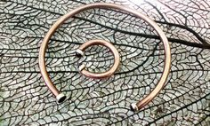 Dual garnet gemstone copper and sterling silver by Le7Lune on Etsy