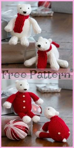 Knit Holiday Polar Bears - Free Patterns #freeknittingpatterns #polarbear #Christmasidea #gift Animal Knitting Patterns, Christmas Knitting Patterns, Bear Patterns, Softie Pattern, Free Pattern, Knitting Bear, Knitting Toys, Amigurumi Free, Knitted Animals