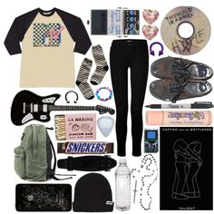 // I'm sorry if I drove your matches to my clothes // by maxizzle on Polyvore featuring J Brand, Madewell, Neff, Dunlop, Pamela Love, Vans, GET LOST, Sharpie, music and fallout