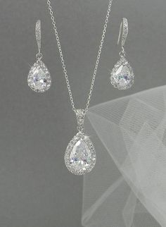 Crystal Bridal Earrings. Crystal wedding earrings,  Crystal Pendant, Bridesmaids jewelry, Ariel Bridal Jewelry SET on Etsy, $60.00