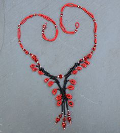 Dovedale Necklace red and black