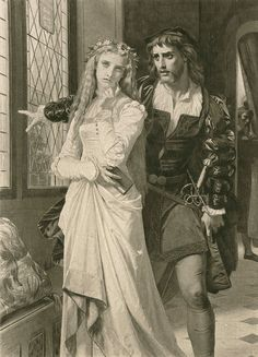 """Amleto e Ofelia"" di Hugues Merle (1823-1881, France)"