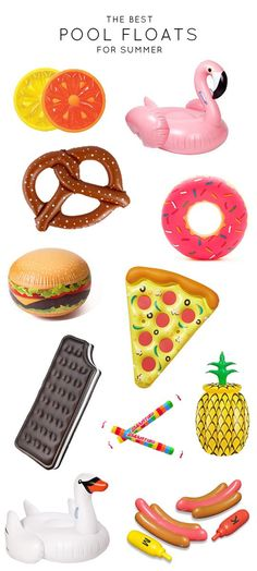 All these floats! #summer #pool #party #pizza #flamingo #pretzel #pineapple #swan