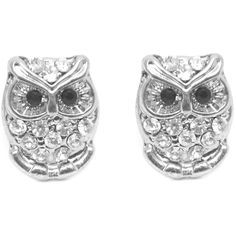 Give them something to hoot about with the Silver Rhinestone Owl Stud Earrings. The owls are small, silver-plated, bejeweled with crystals, and have piercing b…