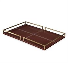 Leather and Brass Gallery Tray Available in Chocolate or Charcoal Leather