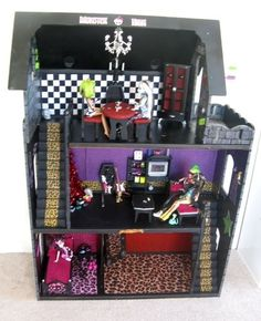 Monster High Doll Houses, how to make one from cardboard, how to turn a dollhouse you already have into a MH house, and/or how to turn a book shelf into a MH house.  Also how to mad furniture.