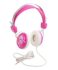 Pink Skull Retro Headphones