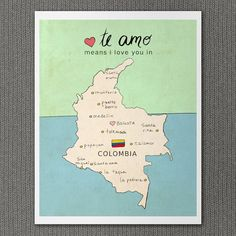 Pretty and different for a nursery - celebrate your heritage. I Love You in Colombia 8x10 / Nursery Art, Map, Illustration, Children Decor, Typography Poster, Digital, Giclee