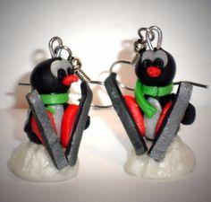 Ohrringe Pinguin Fimo Damen Ohrschmuck Hänger Durchzieher Modeschmuck
