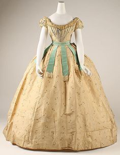 1867 French silk and cotton Ball Gown