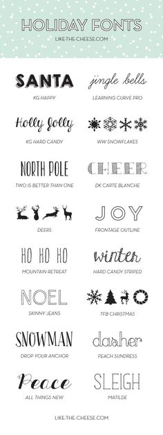 16 Free and Fabulous Holiday Fonts (Perfect for those Christmas Cards) | like-the-cheese.com #free #fonts: