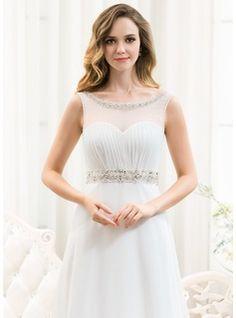 Vestidos princesa/ Formato A Decote redondo Sweep/Brush trem De chiffon Tule Vestido de noiva com Pregueado Bordado Lantejoulas (002054624) - JJsHouse