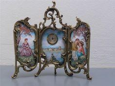 Antique Viennese Austrian Enamel Gilt Bronze Miniature Screen Clock | eBay