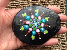 Unique Hand Painted Mandala Rock/Stone with Diamanté from UK by RainbowRumbleUK on Etsy