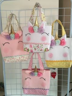 The Craft of Quilt Templates; Fabric Bags, Fabric Dolls, Felt Fabric, Easy Sewing Projects, Sewing Crafts, Unicorn Crafts, Toy Unicorn, Patchwork Bags, Girls Bags