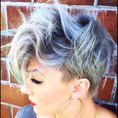 short messy pastel pixie cut for women