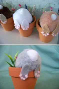 Curious little bunny pots: Top 27 Cute and Money Saving DIY Crafts to Welcom. - DIY and crafts - Curious little bunny pots: Top 27 Cute and Money Saving DIY Crafts to Welcome The Easter - Kids Crafts, Bunny Crafts, Cute Crafts, Diy And Crafts, Easy Crafts, Family Crafts, Craft Ideas For The Home, Rabbit Crafts, Unicorn Crafts