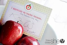 Teacher appreciation-print a card for each child to write a note and make a gift bouquet