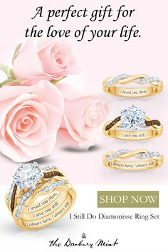 Remember the moment you first fell in love? Show the world the love you share is timeless with three glamorous rings and one spectacular sentiment! 3 stackable bands engraved with the words Big Wedding Rings, Beautiful Wedding Rings, Wedding Sets, Wedding Jewelry, Wedding Bands, Wedding Flowers, 25th Anniversary Wishes, Anniversary Rings, Anniversary Ideas