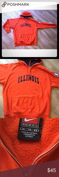 Nike NCAA Illinois Fighting Illini hoodie This is a super nice quality and thick orange NIKE NCAA Illinois Fighting Illini hoodie for men size XL. This hoodie has no signs of wears and looks new without tags. Quarter zip with one large open front pocket. Nike Sweaters