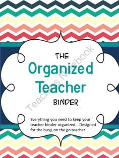 The Organized Teacher BInder from kidology on TeachersNotebook.com -  (92 pages)  - Editable Teacher Yearly Planner and Binder Covers