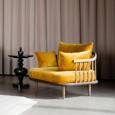 Rs &tradition - fly chair by space copenhagen, 2 Norwegian Design, Sofa Chair, Couch, Student Chair, Space Copenhagen, Yellow Sofa, White Sofas, Mellow Yellow, Scandinavian Design
