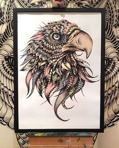My new favourite :-) Supersize prints available to buy from my website... www. fayehalliday.com ❤️ #eagle #zentangle #tattoo #fayehalliday