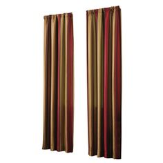 allen   roth Alison 84-in L Striped Red Rod Pocket Window Curtain Panel. Love these curtains for my dining room and living room.