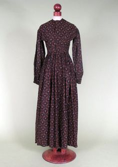 Day Dress: 1860's, printed calico. For the ordinary woman, not upper class.