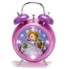 "Be royally on-time with the adorable Sofia the First clock. Glitter accents and LED lights make this a pretty accent to any girl's bedroom. Uses 2 AA batteries (not included). Ages 5 and up. 4 3/4"" W x 2 1/2"" D x 6 3/4"" H. Plastic. Imported. ©Disney"