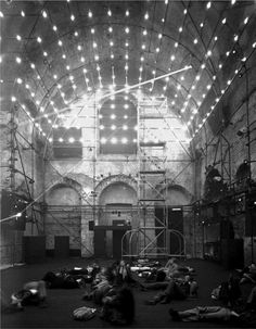 xenakis-polytopes-cluny-01 photographs of the performance, axonometric diagram, composer's diagrams showing distribution of flashbulbs and laser trajectories, light sketches
