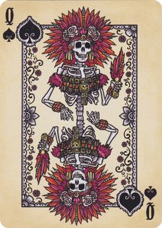 Playing Cards inspired by the art and traditions of Dia de Los Muertos (Day of the Dead). Hand illustrated by David Edgerly and printed by the United States Pla
