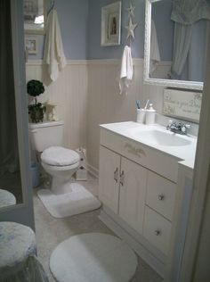 ~Blue Cottage Bath~, It may be small and in the basement, but it sure feels roomy and light., Bathrooms Design