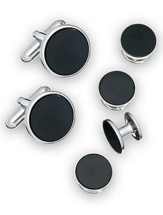 Link Up Cuff Link t head out to a black tie event without making sure you complete your tuxedo with this modern sleek cuff link and stud set These round cuff links and matching studs combine silvertone frames with black epoxy centers to give you a rock-st Mens Big And Tall, Big & Tall, Big And Tall Stores, Black Silver, Studs, Cufflinks, Metal, Black Tie, Epoxy