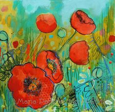 Fire Red Poppies- Original mixed media painting by Maria Pace-Wynters $365