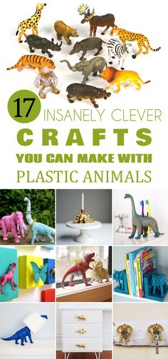 17 Insanely Clever Crafts You Can Make with Plastic Animals - Tap the link now to Learn how I made it to 1 million in sales in 5 months with e-commerce! I'll give you the 3 advertising phases I did to make it for FREE! Plastic Animal Crafts, Plastic Animals, Arts And Crafts Interiors, Arts And Crafts Furniture, Diy Craft Projects, Arts And Crafts For Adults, Art And Craft Videos, Craft Images, Dinosaur Crafts