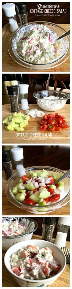 GRANDMA'S COTTAGE CHEESE SALAD - Light & refreshing, healthy too! A childhood favorite that I still enjoy today as an adult, especially on hot summer days. So versatile with lots of options for this a(Feta Cheese Salad) Cottage Cheese Salad, Cottage Cheese Recipes, Low Carb Recipes, Cooking Recipes, Healthy Recipes, Good Food, Yummy Food, Soup And Salad, Salad Recipes