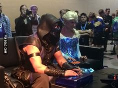Subzero plays mortal combat with Elsa from Frozen