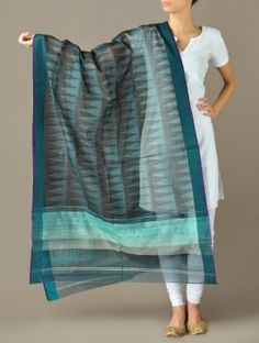 Blue Tribal Maheshwari-Cotton Silk Dupatta