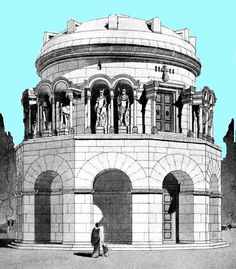 EL MAUSOLEO DE TEODORICO EN RÁVENA. Reconstrucción de Bruno Schuldz del Mausoleo de Teodorico. La galería superior ha sido interpretada como una logia con arcos y columnas en cuyo interior reposaban las estatuas de los principales reyes de la dinastía goda.