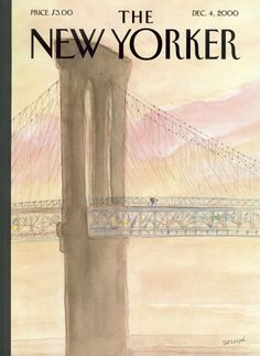 """The New Yorker - Monday, December 4, 2000 - Issue # 3915 - Vol. 76 - N° 37 - Cover """"A Bicyclist On His Way to Brooklyn"""" by """"Sempé"""" - Jean-Jacques Sempé"""