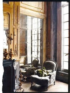 Lovely antique mirror glass in the apartment of French milliner Philippe Model. Featured in Australian Vogue Living.